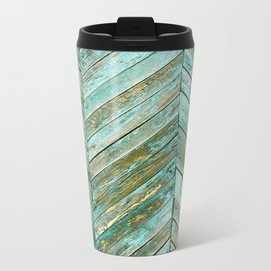 Vintage Blue Wood Metal Travel Mug