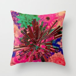 Flower Explosion,pink Throw Pillow