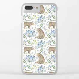 Bears in Blue Flowers Clear iPhone Case