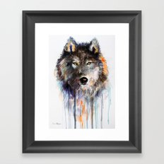 Charcoal Wolf Framed Art Print