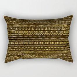 Golden Tribal Pattern on Dark wood Rectangular Pillow