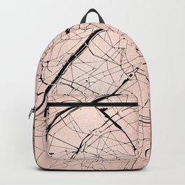 Paris France Minimal Street Map - Rose Gold Glitter on Black Backpack