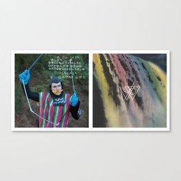 Golden Gilded Waterfalls, Waterfall Diptych Canvas Print