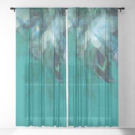 DREAMY FEATHERS & LEAVES - Deep Cyan Sheer Curtain