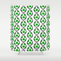 yoshi Shower Curtains featuring Yoshi Eggs by Rebekhaart
