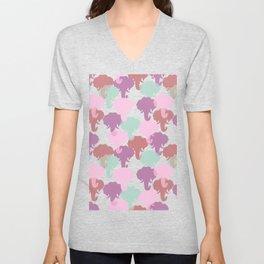 Pastel Elephant Camouflage Pattern Unisex V-Neck