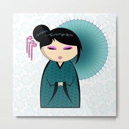 Blue umbrella kokeshi Metal Print