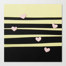 Pink Hearts on Black Paper Cut Canvas Print
