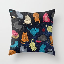 Space cats Throw Pillow