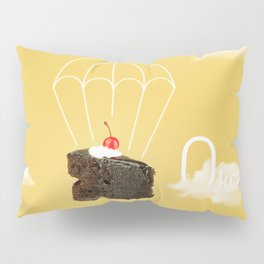 Isolated Chocolate cherry cake with parachute on yellow sky background Pillow Sham