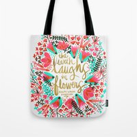 earth Tote Bags featuring The Earth Laughs in Flowers – Pink & Gold by Cat Coquillette
