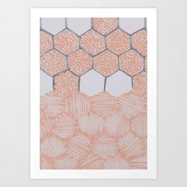 Honey Bee Hexagons – Uneven Edges Art Print