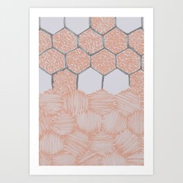Honey Bee Hexagons – Uneven Edges Art Print
