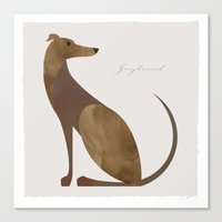 greyhound Canvas Prints featuring Greyhound by a. peterson