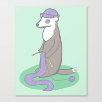 ferret Canvas Prints featuring Knitting Ferret by Noreen Torelli