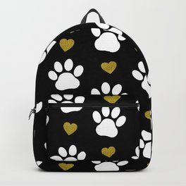 Dog Paws, Traces, Glitter, Hearts - Gold Black Backpack