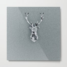Oh Deer in Grey Metal Print