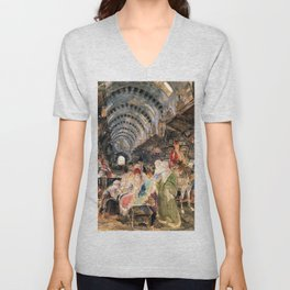 The Bazaar At Constantinople - John Frederick Lewis Unisex V-Neck