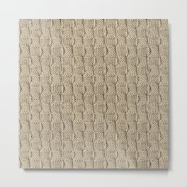 Sepia Knit Textured Pattern Metal Print