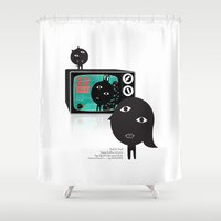 tv Shower Curtains featuring TV by BUBUBABA
