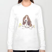 the hound Long Sleeve T-shirts featuring Basset Hound by jo clark