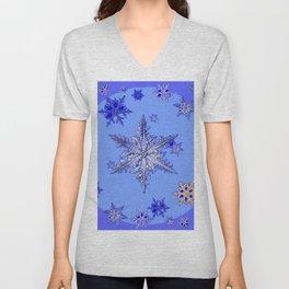 """BLUE SNOW ON SNOW"" BLUE WINTER ART Unisex V-Neck"