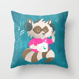 Raccoon music Throw Pillow