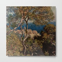 Claude Monet: Bordighera. View of a city on the Italian Riviera through Trees, near France Metal Print