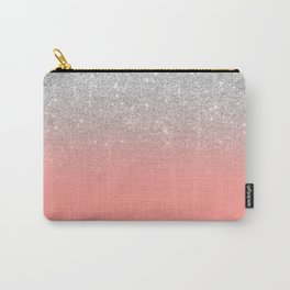 Modern chic coral pink silver glitter ombre gradient Carry-All Pouch
