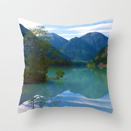 Morning Reflections on Kinney Lake in Mount Robson Provincial Park, British Columbia Throw Pillow