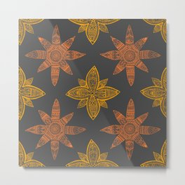 Stars Mandalas Pattern Metal Print