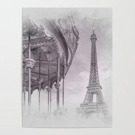 Typical Paris | grey/pink watercolor Poster