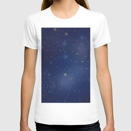 Seamless Pattern with stars and bright shiny stars on dark background T-shirt