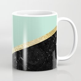 Mint, White, Black Marble and Gold Stripes Glam #1 #minimal #decor #art #society6 Coffee Mug