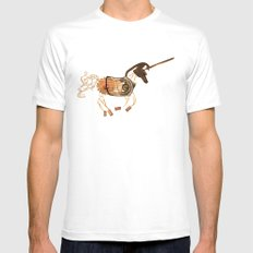 Steampunk Unicorn White MEDIUM Mens Fitted Tee