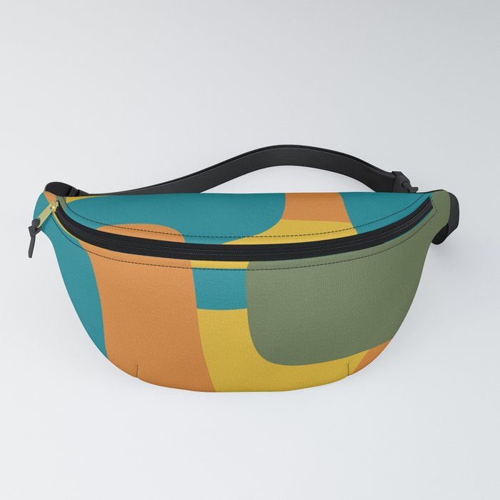 Deconstructed Quilt Modern Minimalist Pattern in Teal, Green, Orange, and Mustard Fanny Pack