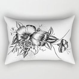 Graphic Flower Ink Art Rectangular Pillow