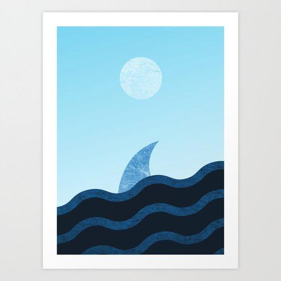 Morning Shark in Sea Waves Art Print