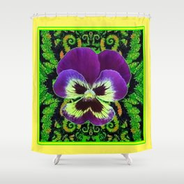 Yellow Color Purple PANSY Green Garden art Shower Curtain