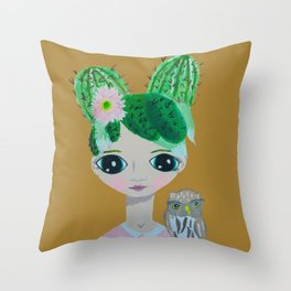 ~ Cactus Hair Clementine & Pygmy Owl ~10 year old Artist Amelia Milly Moo Throw Pillow