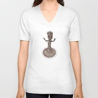 groot V-neck T-shirts featuring Baby Groot by Megan Yiu