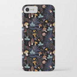 dark wild forest mushrooms iPhone Case