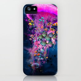 Floating Electric Jellyfish Worlds iPhone Case