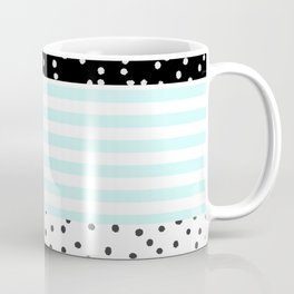 Modern black white teal stripes watercolor polka dots Coffee Mug