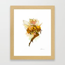 Fairy with two bees Framed Art Print