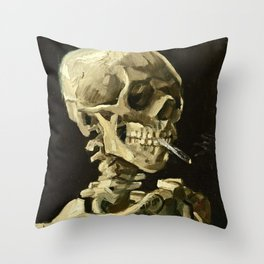 Vincent Van Gogh - Head Of A Skeleton With A Burning Cigarette Throw Pillow