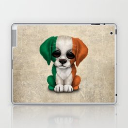Cute Puppy Dog with flag of Ireland Laptop & iPad Skin