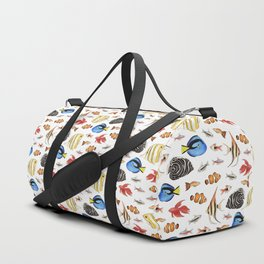 Tropical Fish on White - pattern Duffle Bag