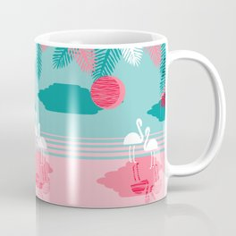 Chill Vibes - memphis retro throwback 1980s 80s neon pop art flamingo paradise socal vacation Coffee Mug