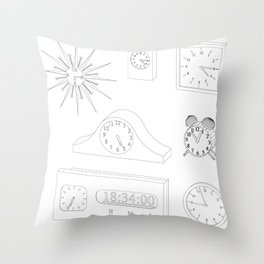 models of desktop and wall clocks Throw Pillow
